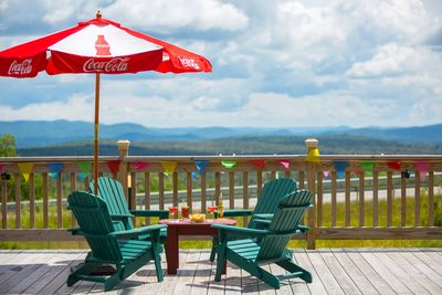 Outdoor seating with Vermont mountains in the background